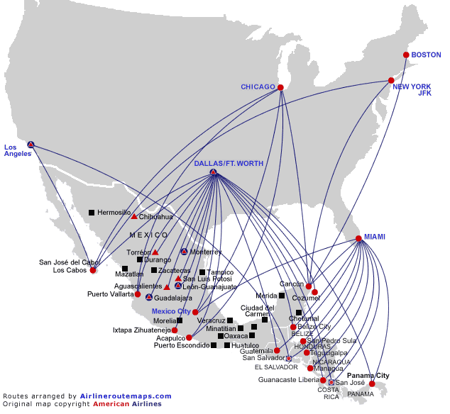 American Airlines Route Map Central America