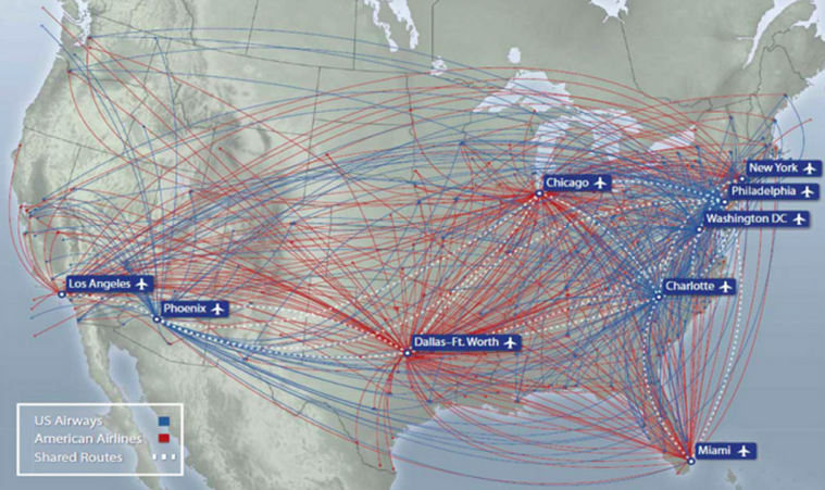 Aa And Usa Domestic Route Map