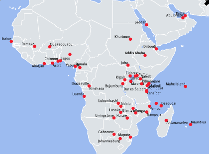 Kenya Airways Route Map In Africa