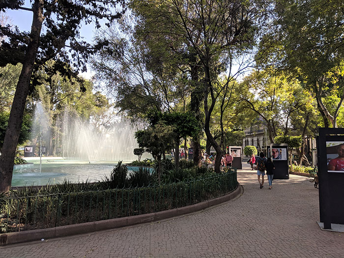 mexico city park with fountain